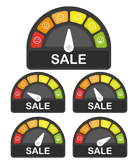 Conjunto de medidor de venta de riesgo infografía plana de alta velocidad sobre fondo blanco icono de flecha vector