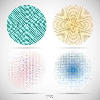 Conjunto de medios tonos circulares de los puntos de colores en gris