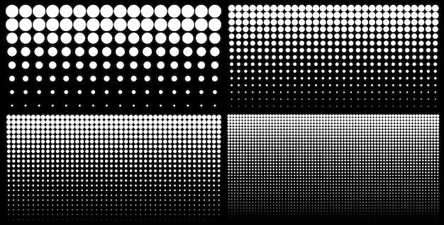 Conjunto de medios tonos de fondos de puntos degradados verticales