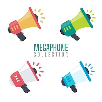Conjunto de megáfono para gritar anuncios de promoción de productos a los clientes.