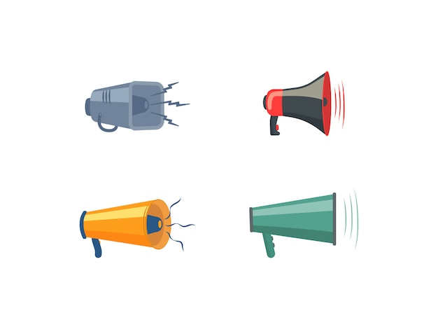 Conjunto de megáfonos, altavoces, icono o símbolo aislado sobre fondo blanco. megáfonos de colores en diseño plano. concepto para redes sociales, promoción y publicidad. ilustración,.