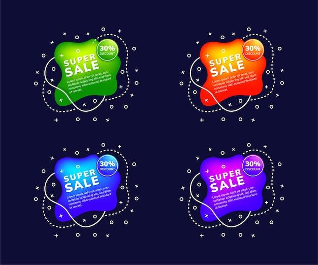 Conjunto de la mejor forma líquida de oferta y venta de pancartas de elementos signo de burbuja de discurso de chat las etiquetas de compras web el color degradado con cuatro variantes son verde, azul, púrpura y naranja