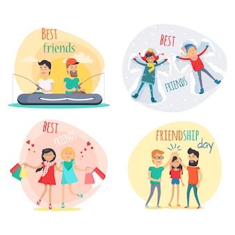 Conjunto de mejores amigos y amistad día de diseño plano.