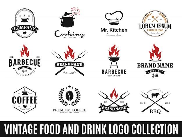 Conjunto de las mejores colecciones de logotipos de comida y bebida