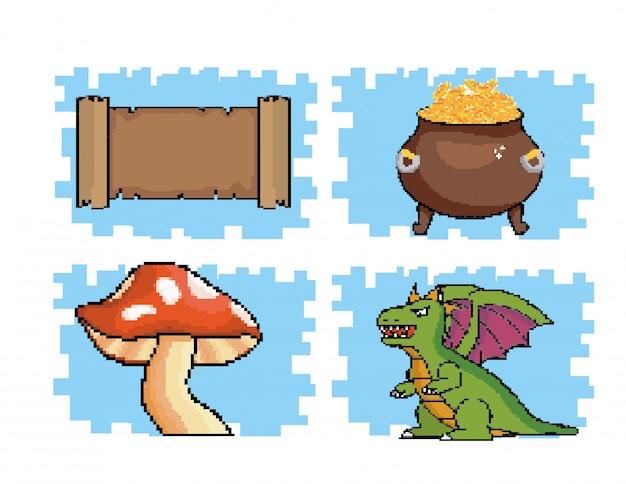 Conjunto de mensaje de pergamino con monedas dentro de caldero y hongos con dragón