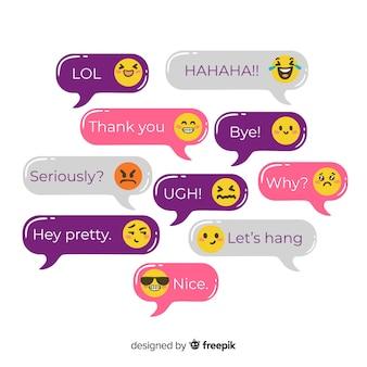 Conjunto de mensajes con colección de emojis