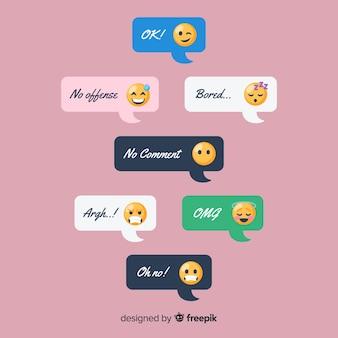 Conjunto de mensajes con emojis