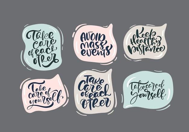 Conjunto de mensajes de letras a mano para la campaña de quedarse en casa.