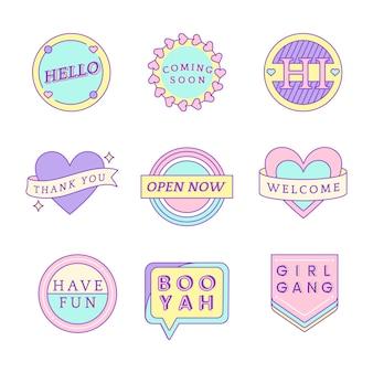 Conjunto de mensajes lindos en vector de insignias