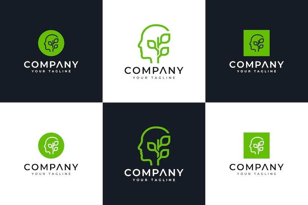 Conjunto de mente y hojas de diseño creativo del logotipo para todos los usos.