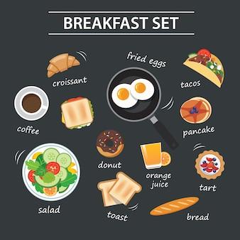 Conjunto de menú de desayuno en pizarra