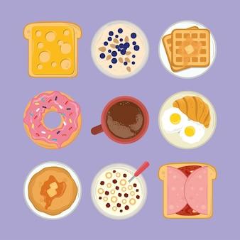 Conjunto de menú de desayuno