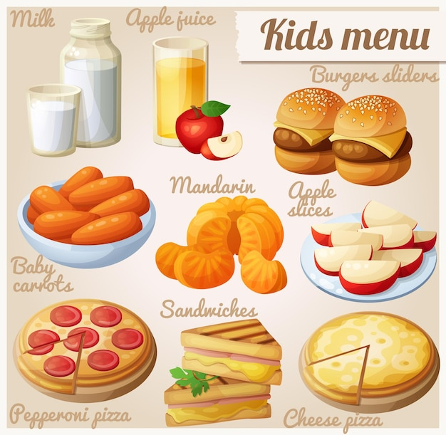 Conjunto de menú para niños de iconos de comida de vector de dibujos animados