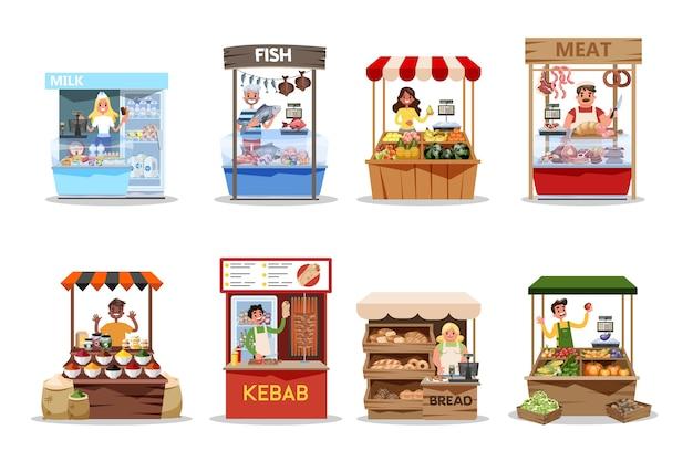 Conjunto de mercado de alimentos. producto de granja, fresco y saludable.