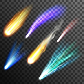 Conjunto de meteoros y cometas