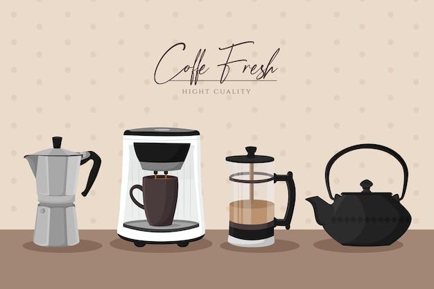 Conjunto de métodos de preparación de café vintage