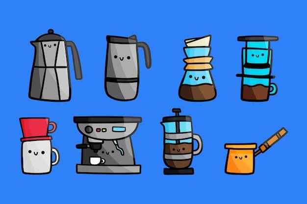 Conjunto de métodos de preparación de café.
