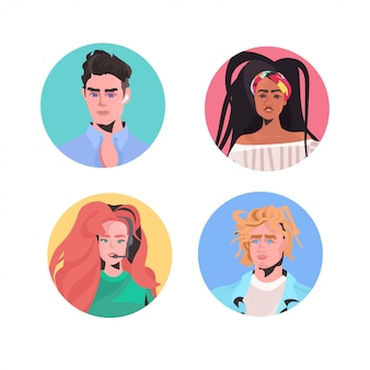 Conjunto mezclar raza gente perfil avatares hermoso hombre mujer caras macho hembra personajes de dibujos animados colección