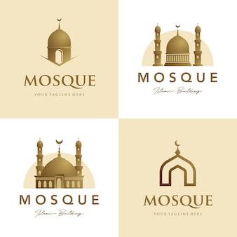 Conjunto de mezquita logo símbolo islámico oro