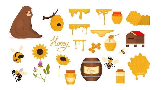 Conjunto de miel. alimentos orgánicos saludables. producto de abeja amarilla