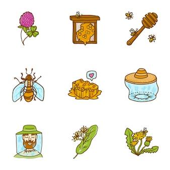 Conjunto de miel, estilo dibujado a mano