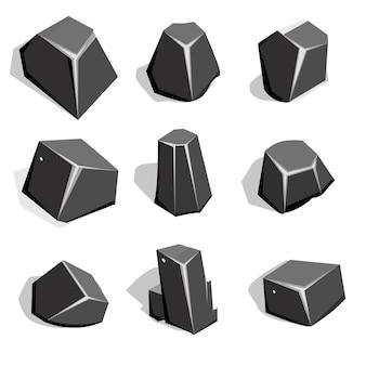 Conjunto de mineral de carbón o piedras