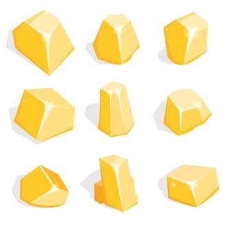 Conjunto de mineral de oro o piedras