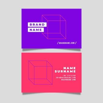 Conjunto minimalista colorido de plantilla de tarjeta de visita