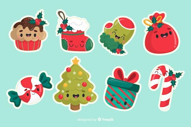 Conjunto minimalista de decoración de árboles de navidad