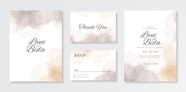 Conjunto minimalista y hermoso de plantillas de invitación de boda con salpicaduras de acuarela
