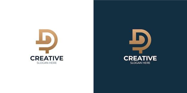 Conjunto minimalista de logotipo de letra d de combinación p