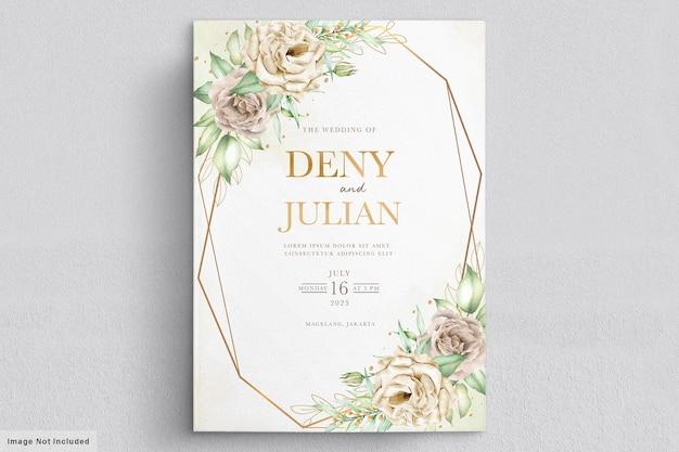 Conjunto minimalista de tarjetas de boda de rosas blancas