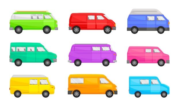 Conjunto de minivans de diferentes formas y colores.