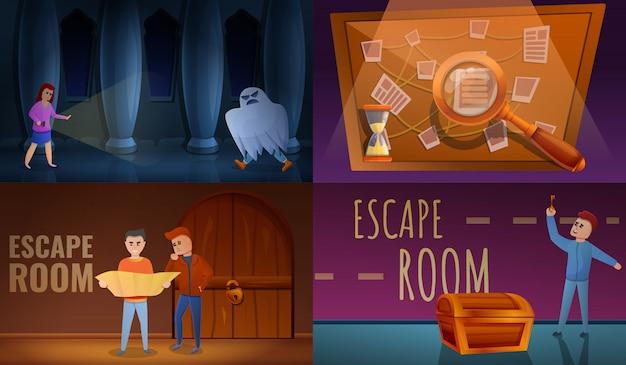 Conjunto de misiones, estilo de dibujos animados
