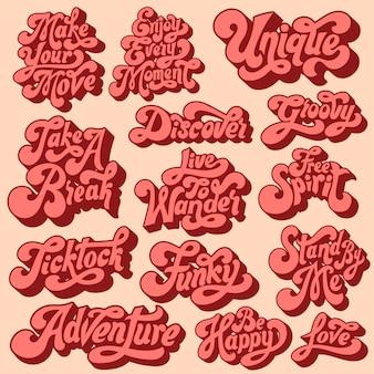 Conjunto mixto de tipografía motivacional.