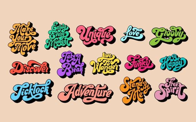 Conjunto mixto de tipografía de palabras motivacionales.
