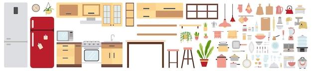 Conjunto de mobiliario y equipamiento de cocina. colección de utensilios de cocina para el hogar