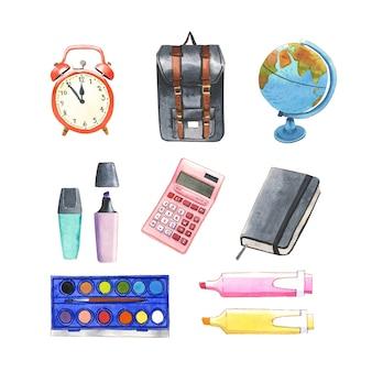Conjunto de mochila escolar acuarela aislado, calculadora, ilustración de reloj para uso decorativo.