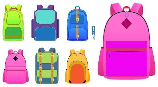 Conjunto de mochila escolar realista en diferente color aislado o bolso de viaje colección urbana