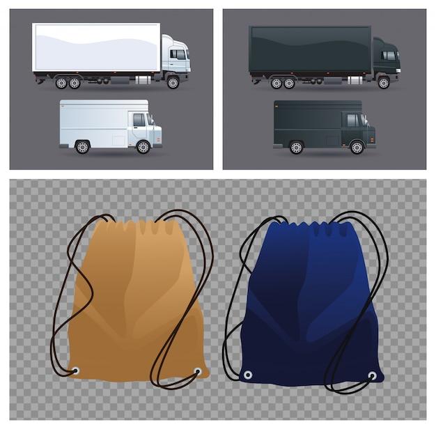 Conjunto de mochilas, camiones y furgonetas con cordón