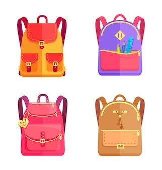 Conjunto de mochilas coloridas