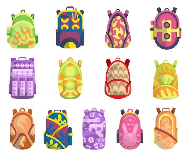 Conjunto de mochilas escolares de colores. educación y estudio de regreso a la escuela, mochila, mochila. colección de carteras de estudiantes. ilustración en color