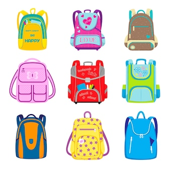 Conjunto de mochilas de escuela primaria. mochilas escolares para niños con útiles en bolsillos abiertos, bolsos y mochilas infantiles. ilustración de dibujos animados