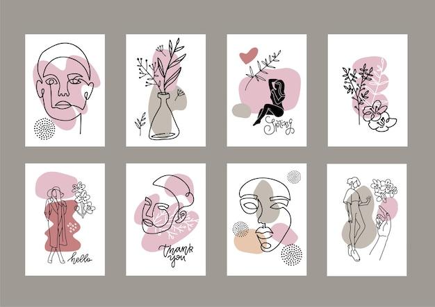 Conjunto de moda a4. rostro femenino dibujado en una línea.