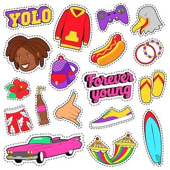 Conjunto de moda para adolescentes con coche rosa, comida rápida y ropa colorida para pegatinas, insignias. vector, garabato