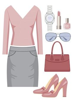 Conjunto de moda con falda y suéter