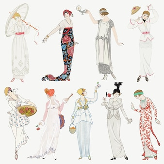 Conjunto de moda femenina de los años 20, remezcla de obras de arte de george barbier