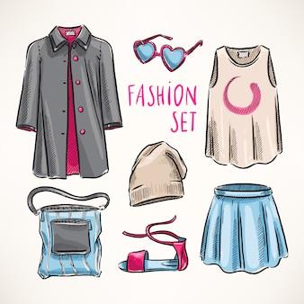 Conjunto de moda con ropa y complementos de mujer. ilustración dibujada a mano