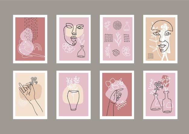 Conjunto de moda en tamaño a4. rostro femenino dibujado en una línea con decoración de formas abstractas.