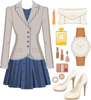 Conjunto de moda de traje femenino, accesorios y cosméticos.